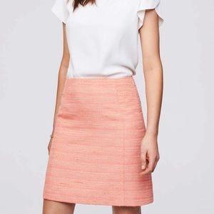 Loft Striped Tweed Skirt In Florescent Orange